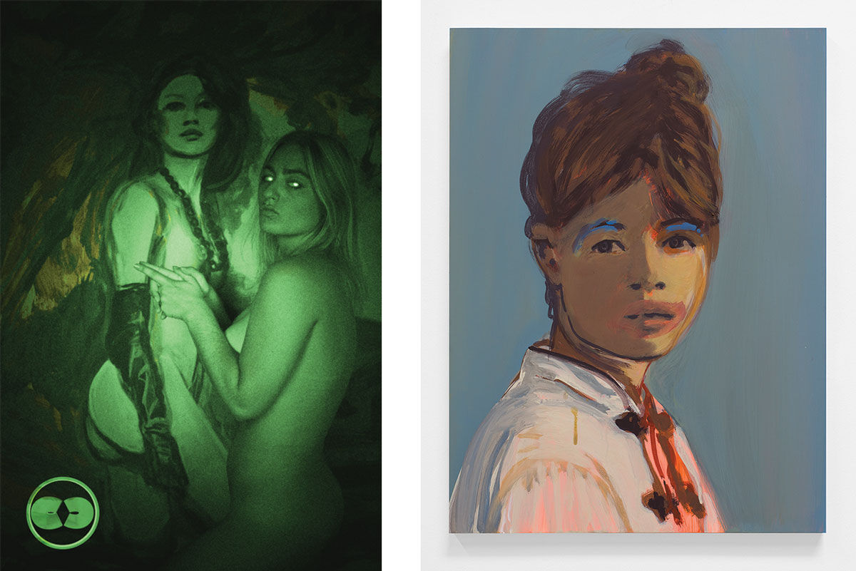 Left: Claire Tabouret and Casey Jane Ellison, Voyeur vs. Viewer, 2016. Right: Claire Tabouret, Makeup (blue brows), 2016. Images courtesy of Lyles & King.