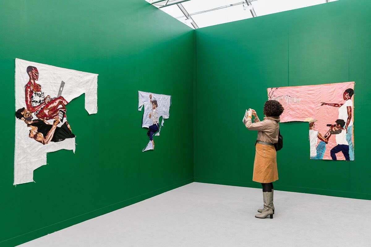 Installation view of Billie Zangewa at Blank Projects's booth at Frieze London, 2017. Photo by Mark Blower. Courtesy of Mark Blower/Frieze.