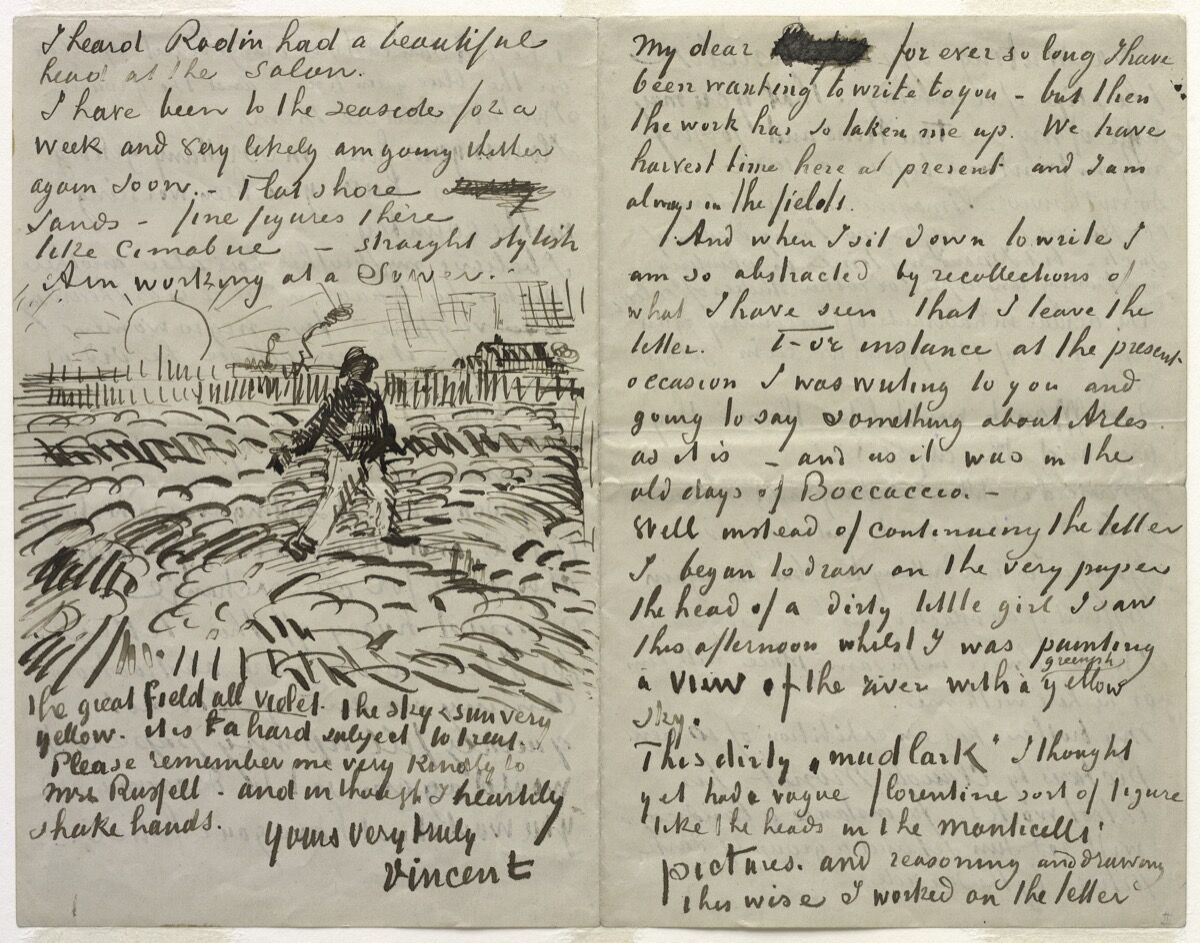 Vincent van Gogh, Letter to John Peter Russell. Courtesy of The Solomon R. Guggenheim Foundation / Art Resource, NY.