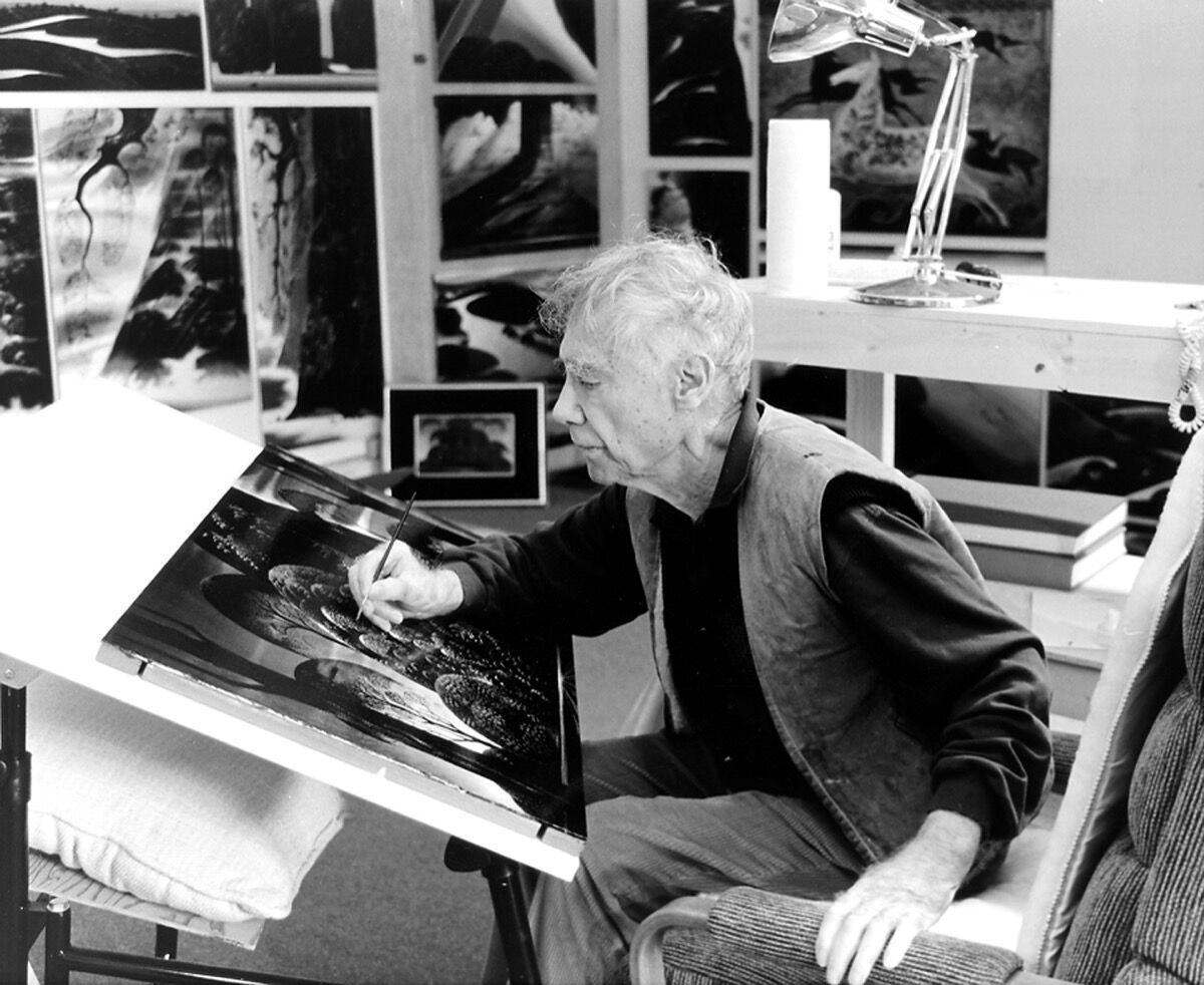 Eyvind Earle in his studio, Ioan Szasz; courtesy of Eyvind Earle Publishing, LLC.