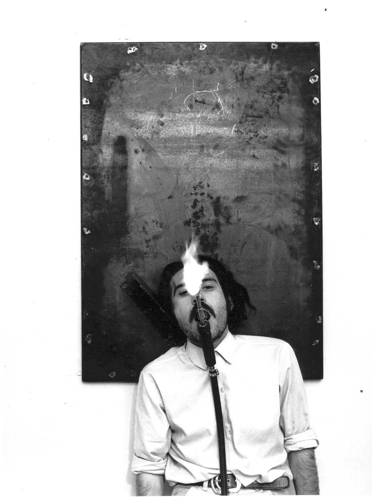 Portrait of Jannis Kounellis, Galleria Lucio Amelio, Naples, 1973. Photo by Caludio Abate. Courtesy of Fondazione Prada.
