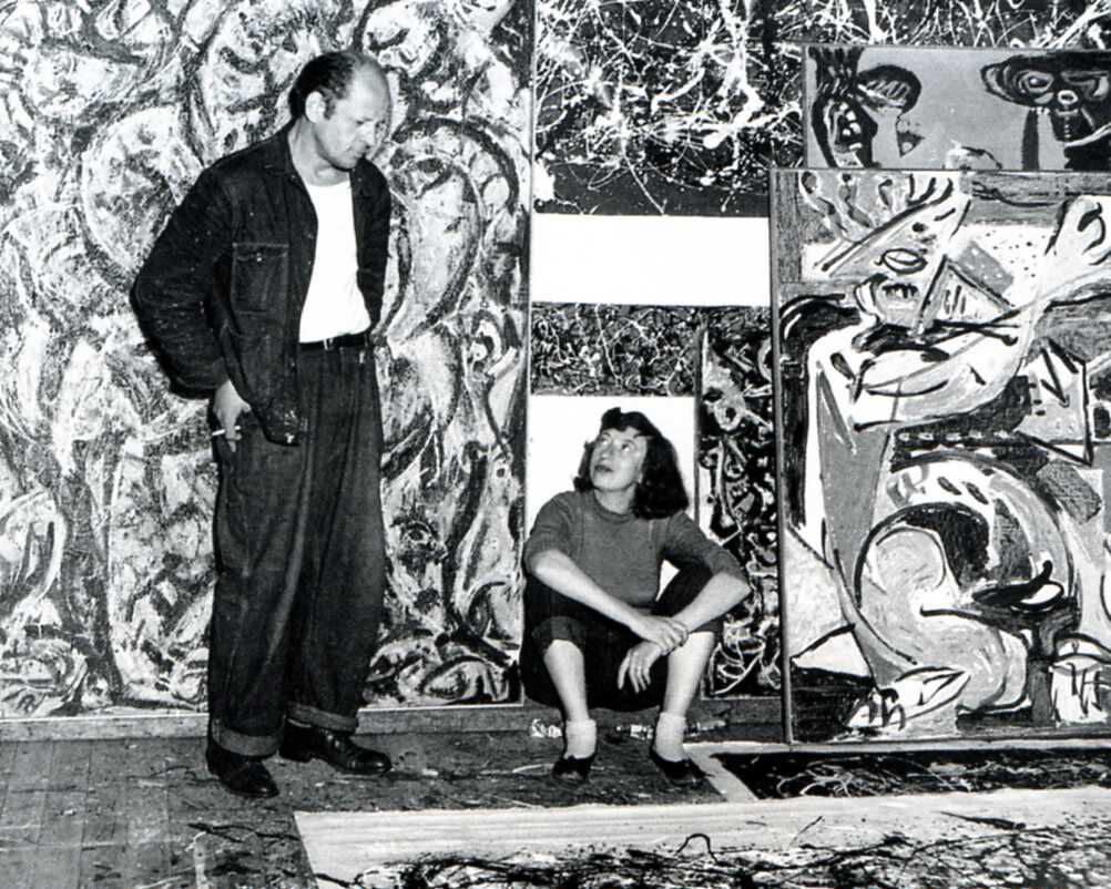 Jackson Pollock and Lee Krasner in Pollock's studio, East Hampton, 1949. Photo by Lawrence Larkin. Courtesy of the Pollock-Krasner House and Study Center, East Hampton, NY.
