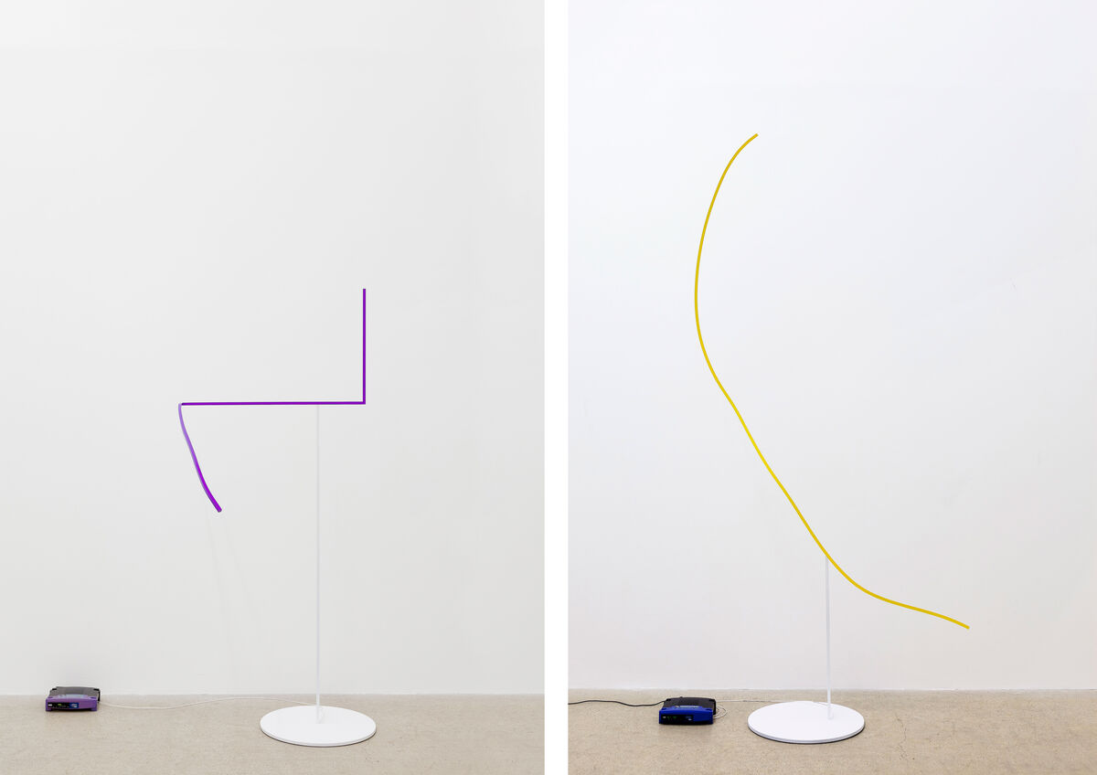 Left: Coloring the Wifi Network (with Medium Purple), 2015; Right: Coloring the Wifi Network (with Sunny Yellow). On view at François Ghebaly Gallery, Stand G15. Courtesy the gallery.