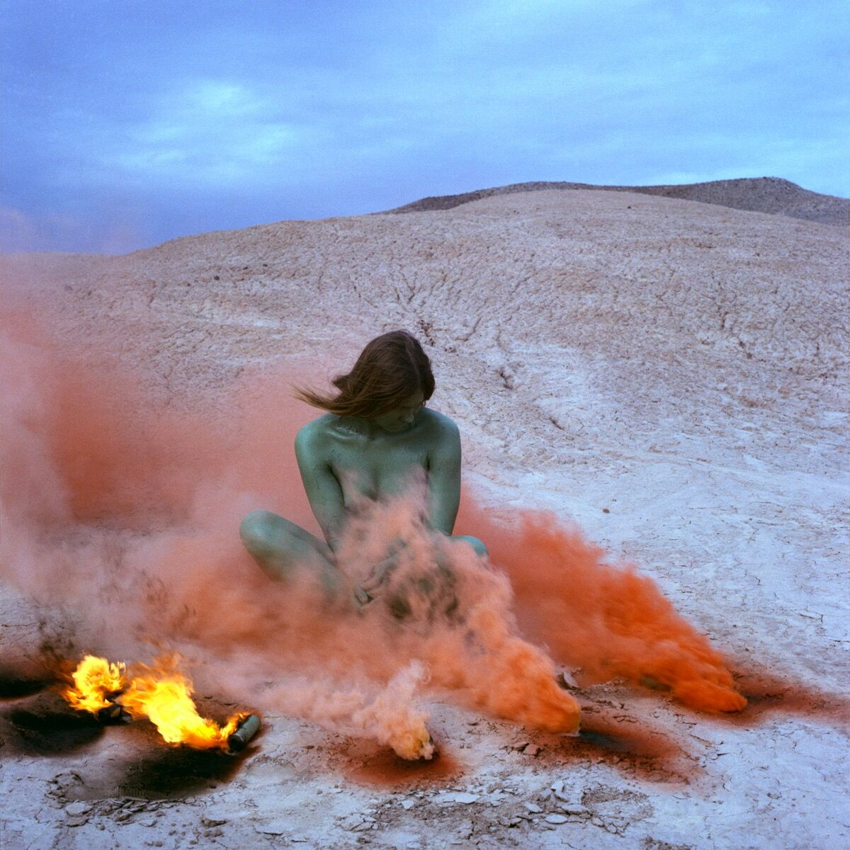 Judy Chicago, Immolation, 1972. Performed by Faith Wilding. © Judy Chicago. Courtesy of Through the Flower Archives.