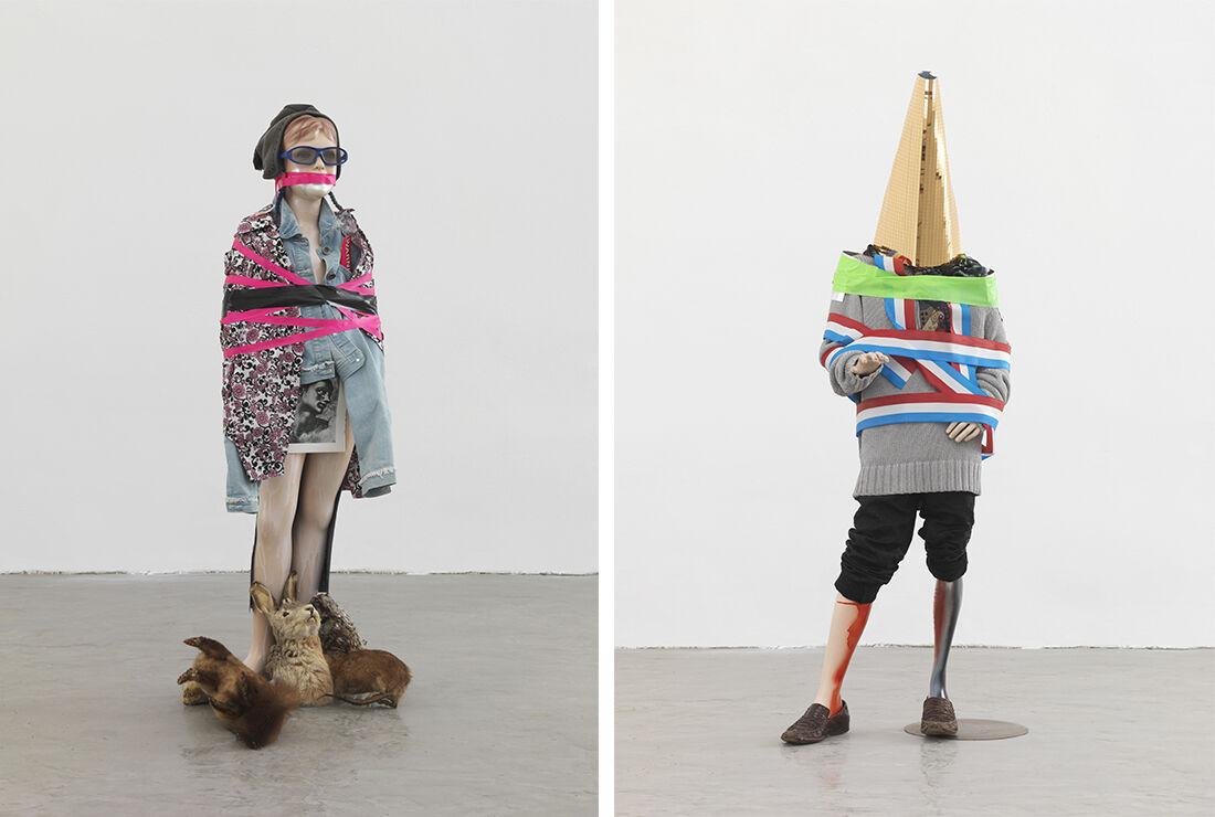 Isa Genzken, Schauspieler II, 13, 2014; Isa Genzken, Schauspieler II, 3, 2014. Courtesy David Zwirner, New York/London and Galerie Daniel Buchholz, Cologne