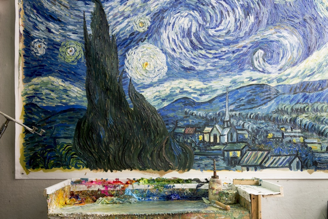A freshly painted copy of Vincent van Gogh, Starry Night, 1889. Photo by Adam Kuehl for Artsy.