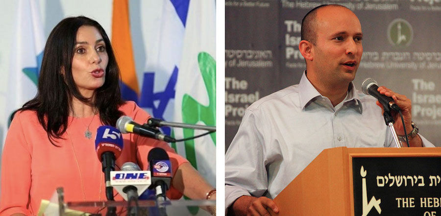 Photo of Miri Regev via @one.co.il; Photo of Naftali Bennett by The Israel Project via Wikimedia Commons.