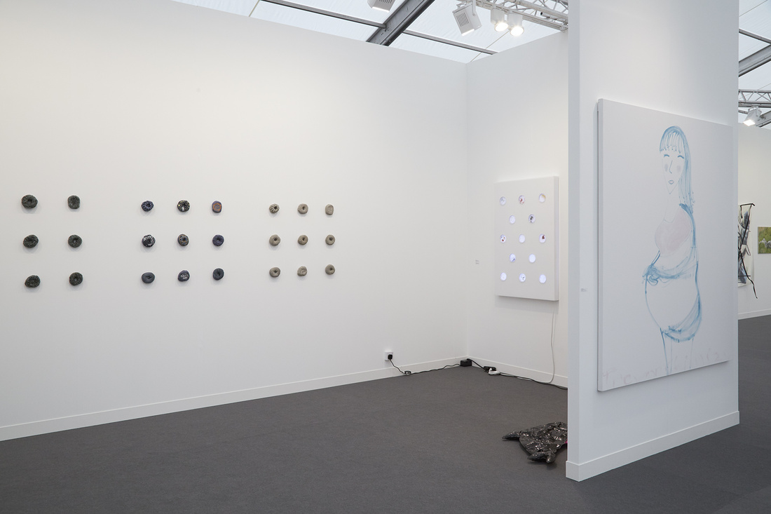 Installation view of 47 Canal's booth at Frieze London 2015. Photo by Benjamin Westoby for Artsy.