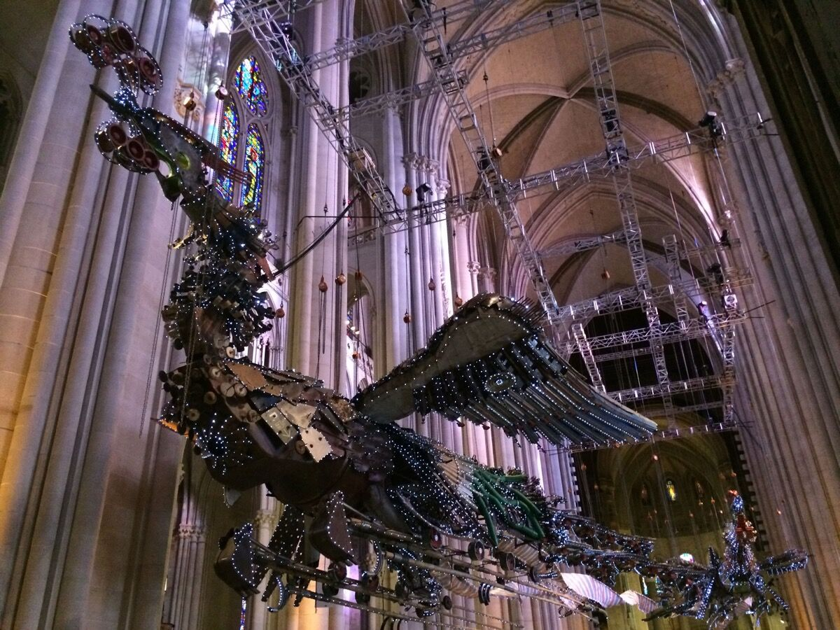 Installation by Xu Bing at Saint John the Divine. Photo by Jesse Robert Coffino.