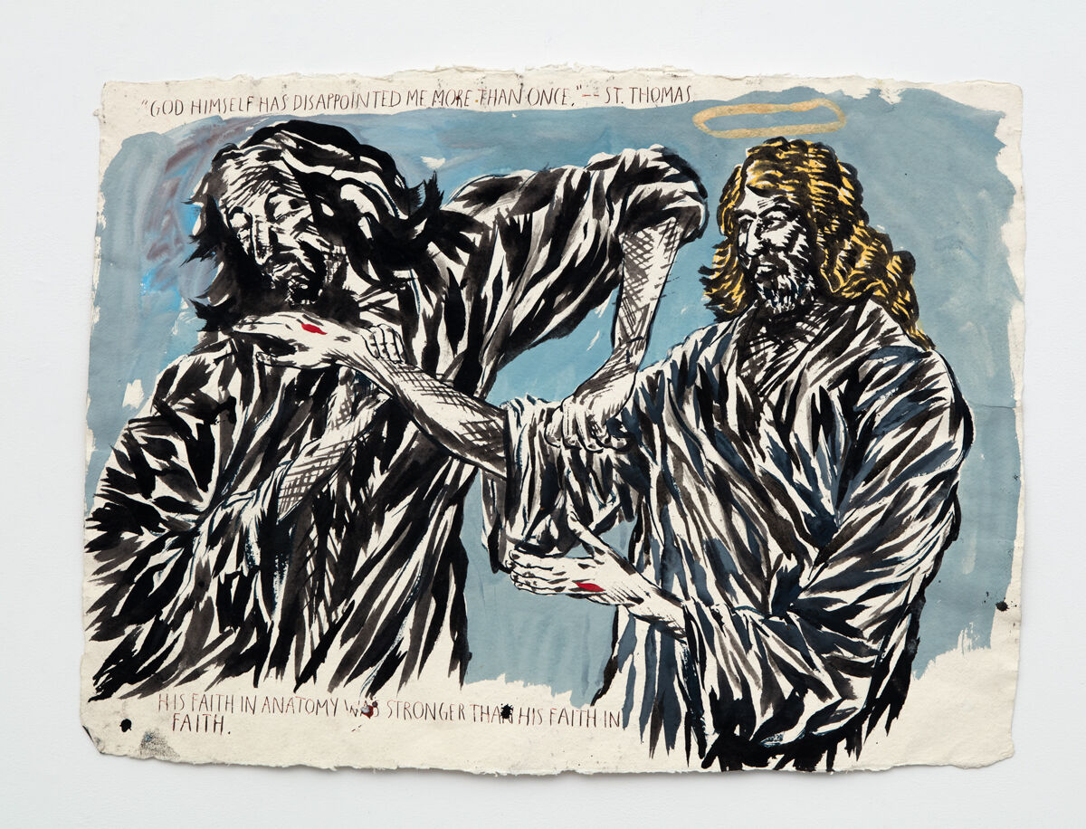 "Raymond Pettibon, No Title (""God himself has...""), 2007. Courtesy the artist and David Zwirner, Regen Projects, Sadie Coles HQ, and Contemporary Fine Arts Berlin."