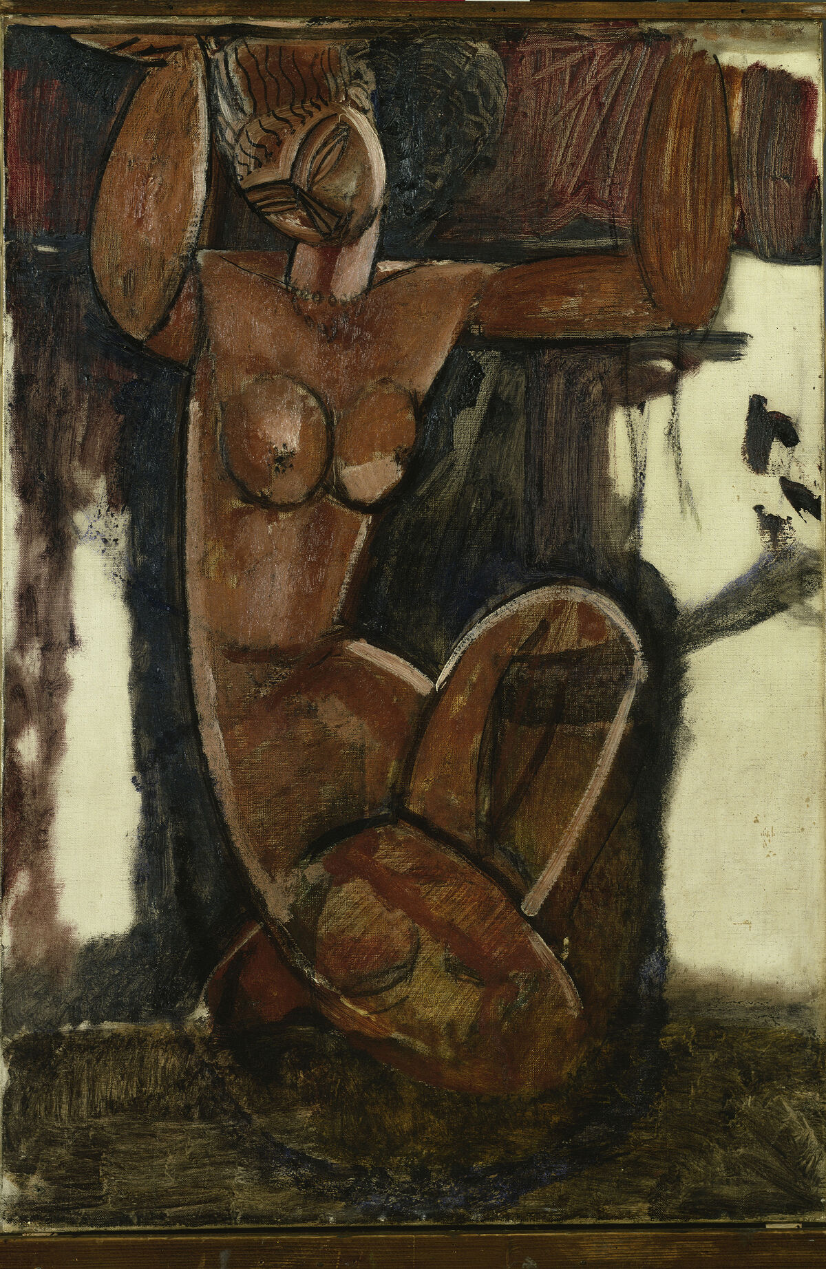 Amedeo Modigliani, Caryatid, c. 1911. Kunstsammlung Nordrhein-Westfalen, Dusseldorf. Courtesy of the Jewish Museum.