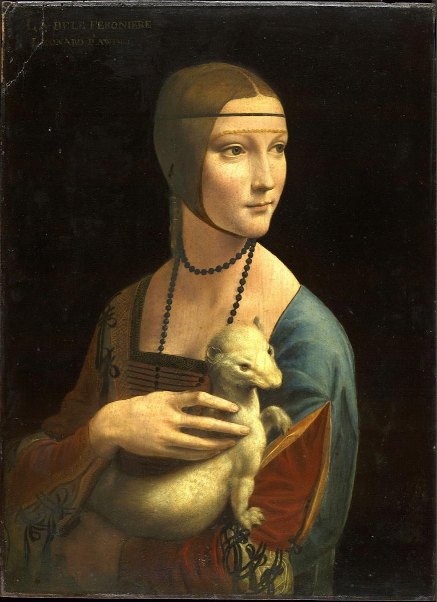 Leonardo da Vinci, Lady with an Ermine (Portrait of Cecilia Gallerani), ca. 1489–90. Image via Wikimedia Commons.