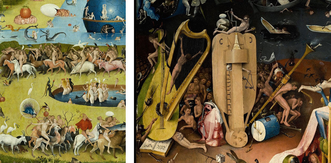 Detail views of Hieronyumus Bosch, Garden of Earthly Delights, ca. 1505-15. Collection of Museo del Prado, Madrid; image via Wikimedia Commons.