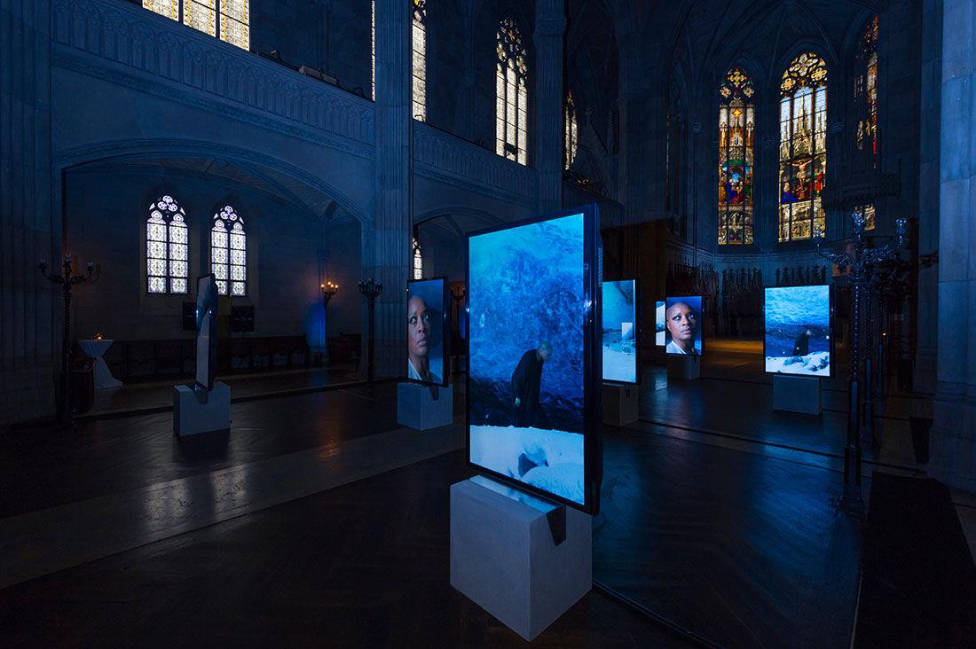 Installation View, Isaac Julien,Stones Against Diamonds(2015).Photo: Harold Cunningham.