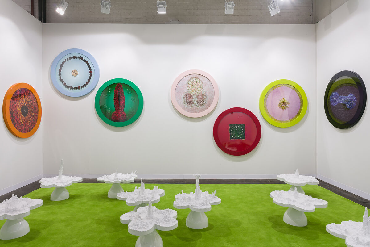 Installation view of Helen Chadwick, Wreath of Pleasure No 1 - 13, 1993-4, and Piss Flowers, 1991-2, at Richard Saltoun Gallery's booth at Art Basel in Basel, 2018. © Estate of the artist. Photo by Mark Blower. Courtesy of Richard Saltoun Gallery.