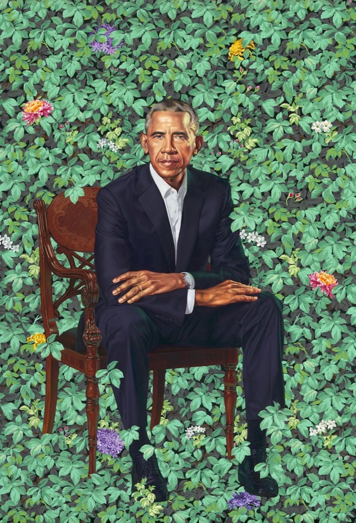 Kehinde Wiley, Barack Obama, 2018. © 2018 Kehinde Wiley. Courtesy of the National Portrait Gallery, Washington D.C.