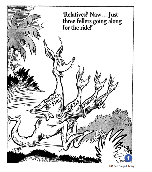 Dr. Seuss, Relatives? Naw... Just three fellers going along for the ride!, 1941. Special Collections and Archives, UC San Diego Library.