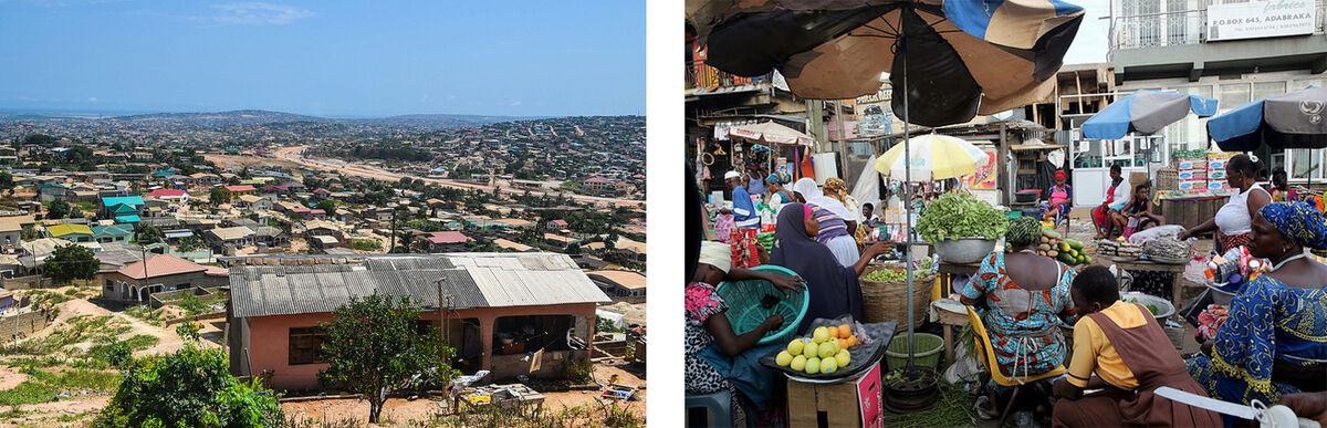 Left: View of Accra West. Photo by jbdodane, via Flickr; Right: Snapshot of Accra's Mamobi neighborhood in October 2015. Photo © Dominic Chavez/World Bank, via Flickr.