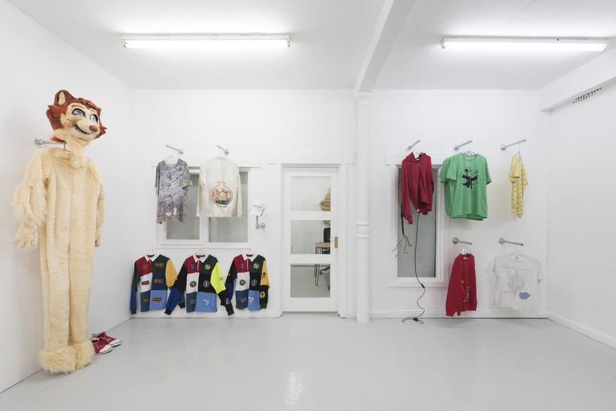 Artists' Clothes, 2016. Installation view ofCondo at Carlos/Ishikawa, London. Photo courtesy the artists and Carlos/Ishikawa.
