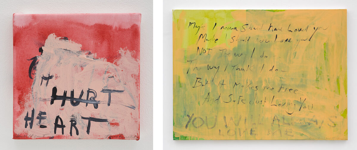 Left: Tracey Emin, Hurt heart, 2015; Right: Tracey Emin, Another love story, 2011–2015. © Tracey Emin. All rights reserved, DACS 2016. Photos © George Darrell, courtesy of Lehmann Maupin and White Cube.