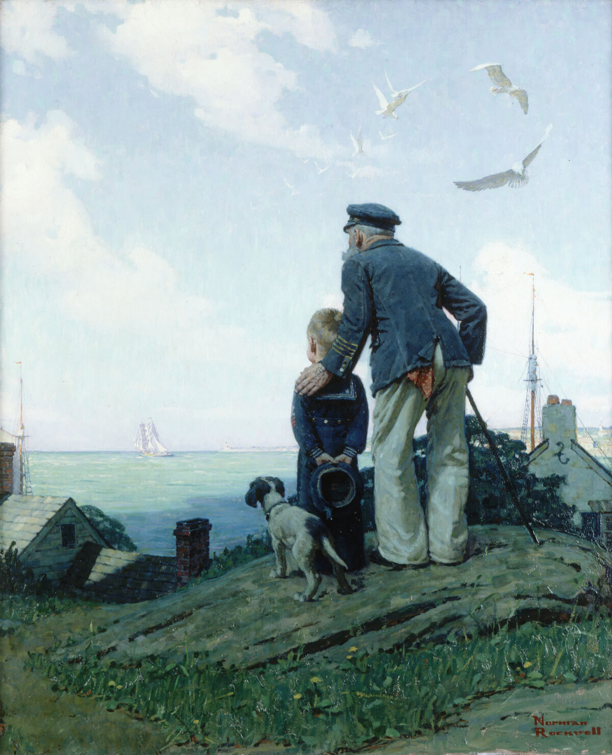 Norman Rockwell, The Stay at Homes (Outward Bound), 1927. Illustration for Ladies' Home Journal, October 1927. © Norman Rockwell Family Agency. Courtesy of the Norman Rockwell Museum.