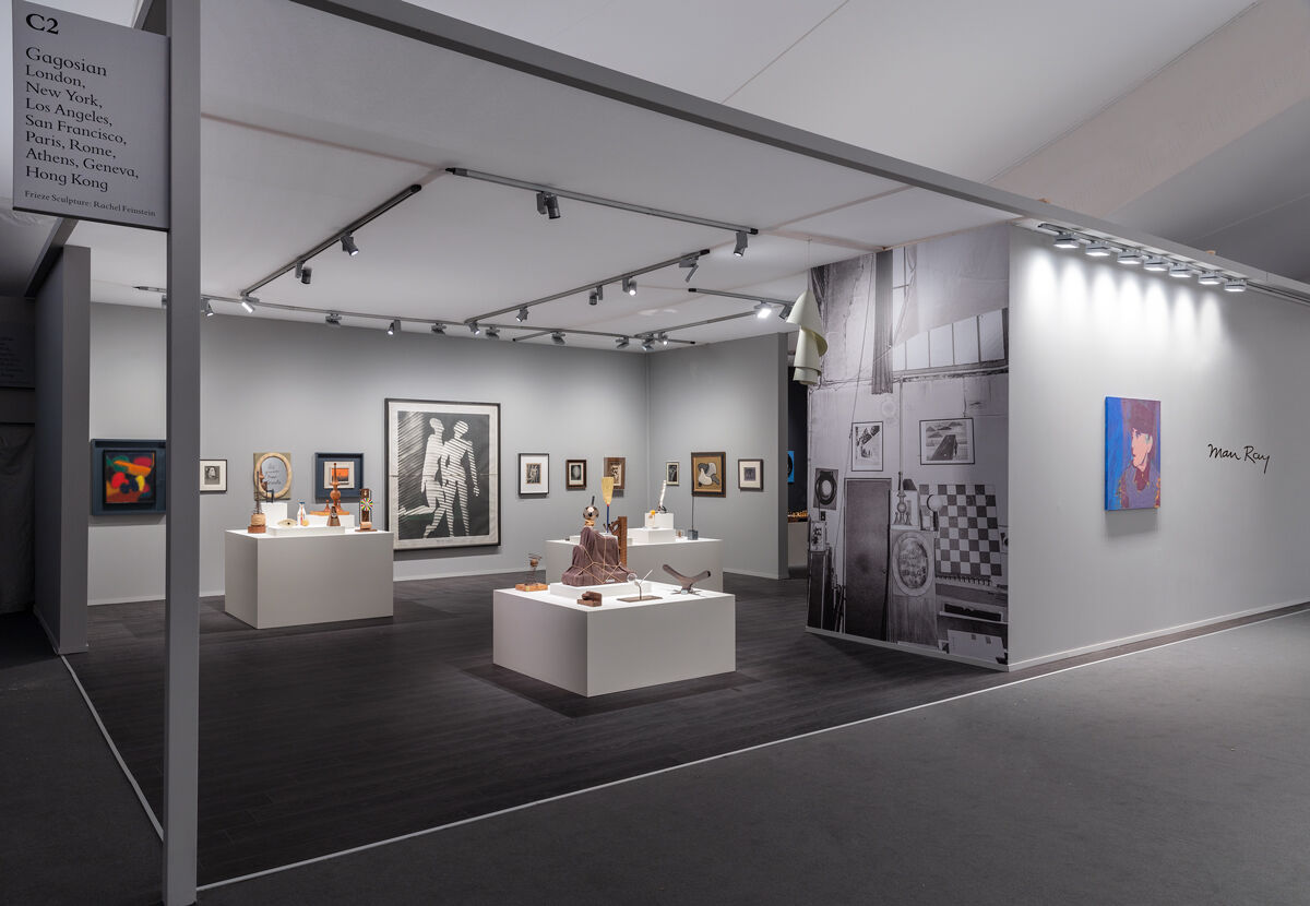 Installation view of work by Man Ray in Gagosian's booth at Frieze Masters, 2018. © Man Ray Trust / Artists Rights Society (ARS), NY / ADAGP, Paris 2018. Photo by Lucy Dawkins. Courtesy of the gallery.