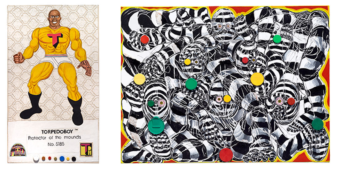 Left: Trenton Doyle Hancock, 8 Back Icon Series: Torpedoboy- Protector of the Mounds, No. 5185, (2016). Right: Trenton Doyle Hancock, Bloodshot Eyes, Trippy Patterning, Red, Green, and Yellow Coloration. Yep, This Piece Must be about Traffic Lights. (2016). Courtesy of James Cohan Gallery.
