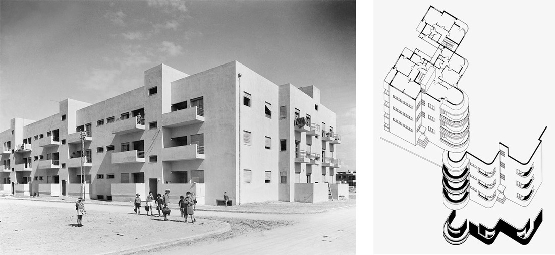 Left: Workers' Housing, City block of Frishman, Dov Hoz, Frug Streets,Tel Aviv Jaffa, 1934. Architect: Arieh Sharon. Photo by Itzhak Kalter. Right: 65 Hovevei Zion Street,Tel Aviv Jaffa, 1935. Architect: Pinchas Hütt. Images courtesy of the Israel Museum.