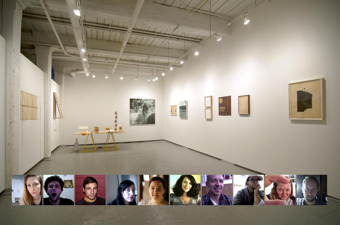 "Installation view ""Imaginary Monuments,"" at Ortega Y Gasset Projects, New York. 2015, with members Eleanna Anagnos, Zahar Vaks, Will Hutnick, Sheilah Wilson, Sarah Rushford, Leeza Meksin, Eric Hibit, Joshua Bienko, Lauren Frances Adams, Fritz Horstman pictured below."