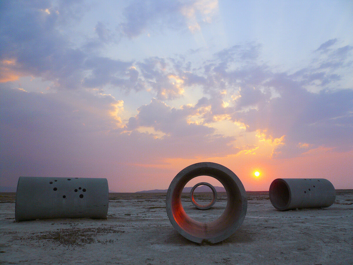 Nancy Holt, Sun Tunnels, 1973–76. Great Basin Desert, Utah. Dia Art Foundation with support from Holt/Smithson Foundation. © Holt/Smithson Foundation and Dia Art Foundation. Licensed by VAGA at Artists Rights Society (ARS), NY. Photo by ZCZ Films/James Fox, courtesy Holt/Smithson Foundation.