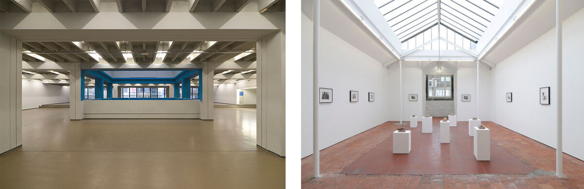 Left: The Independent Brussels space; Right: Installation view ofJohn Stezaker at Independent Régence in Brussels, presented by The Approach. Photos courtesy of Independent.