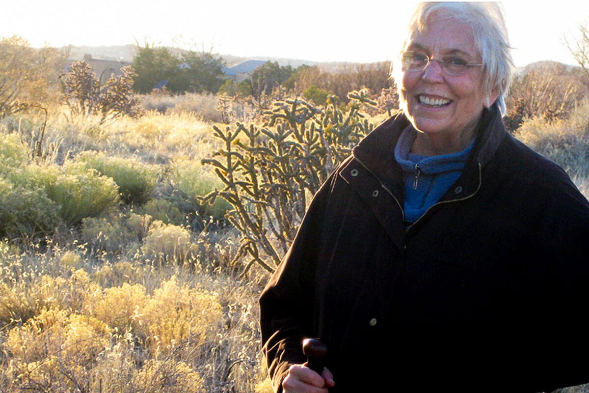 Portrait of Nancy Holt at her property in Galisteo, New Mexico, 2008. Photo by Alena Williams © Holt-Smithson Foundation, Licensed by VAGA/New York.