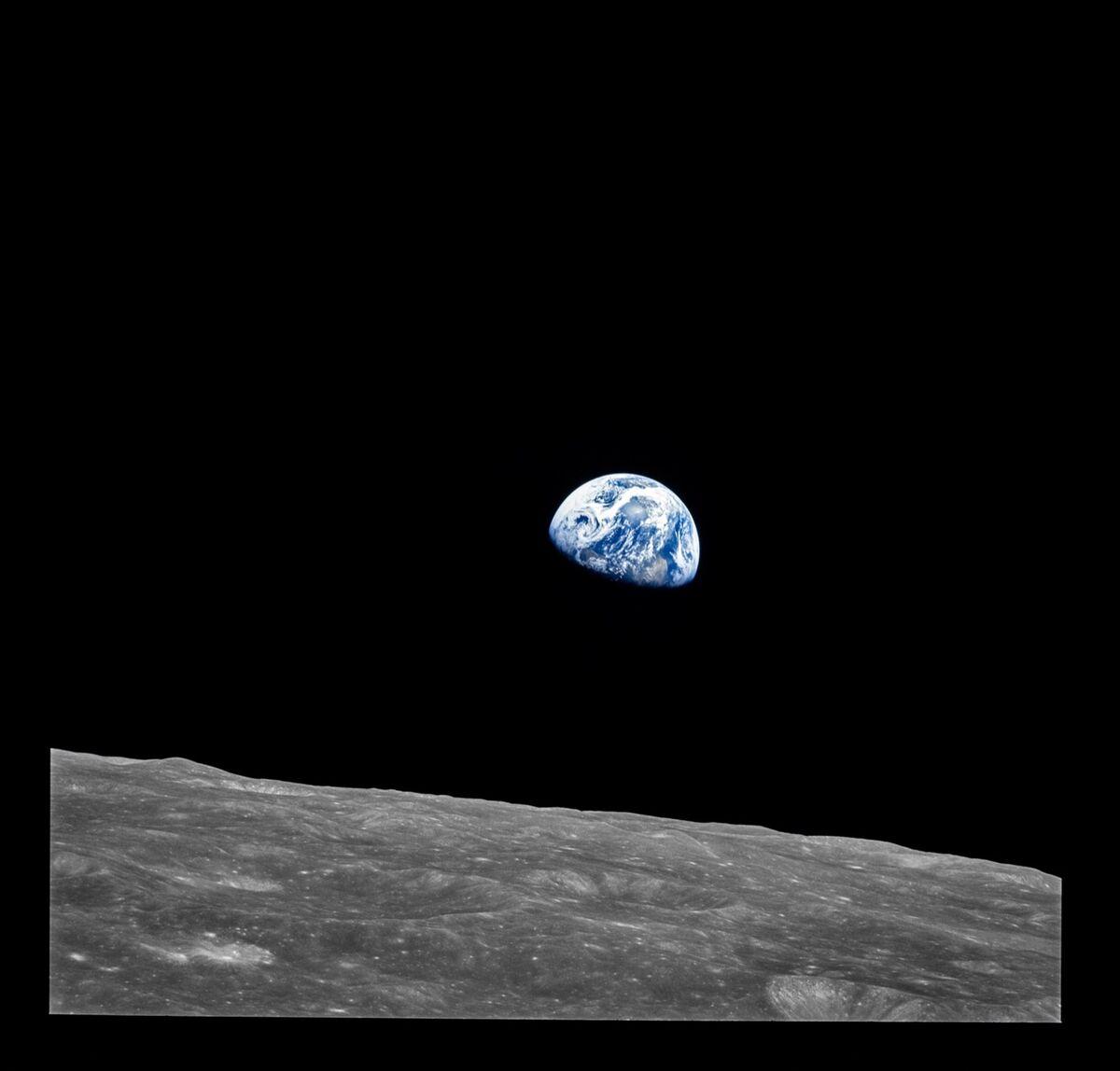 Earthrise, taken from lunar orbit, Apollo 8. Image from the book Apollo VII–XVII. Courtesy of NASA.