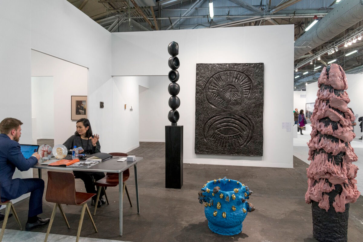 Installation view of Alison Jacques Gallery and Stuart Shave/Modern Art's booth at The Armory Show, 2017. Photo by Adam Reich for Artsy.