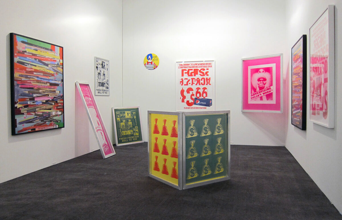 Sara Cwynar, Pens, 2015, and other works installed in Cooper Cole's booth at NADA Miami Beach, 2015. Photo courtesy of Cooper Cole.