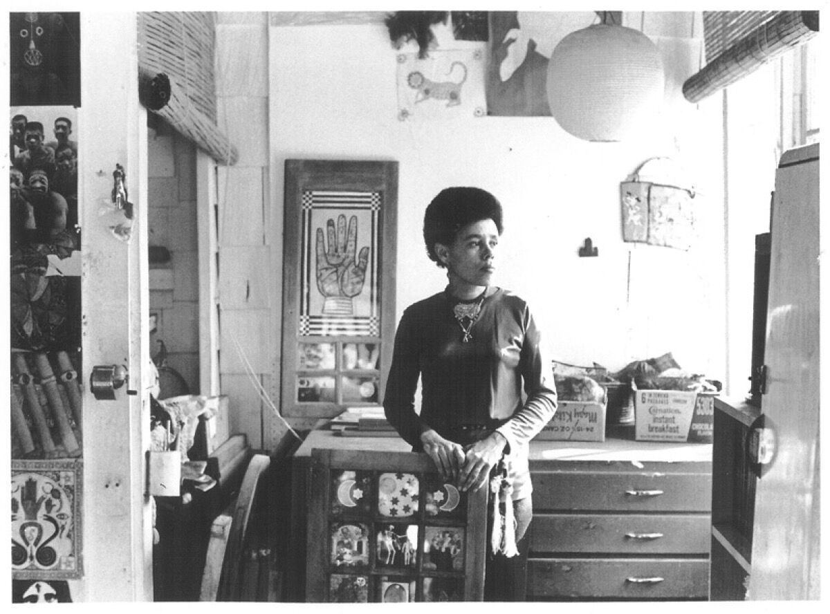Betye Saar in Laurel Canyon Studio, 1970. Photo by Bob Nakamura. Courtesy of the artist and Robert & Tilton, Los Angeles, California.