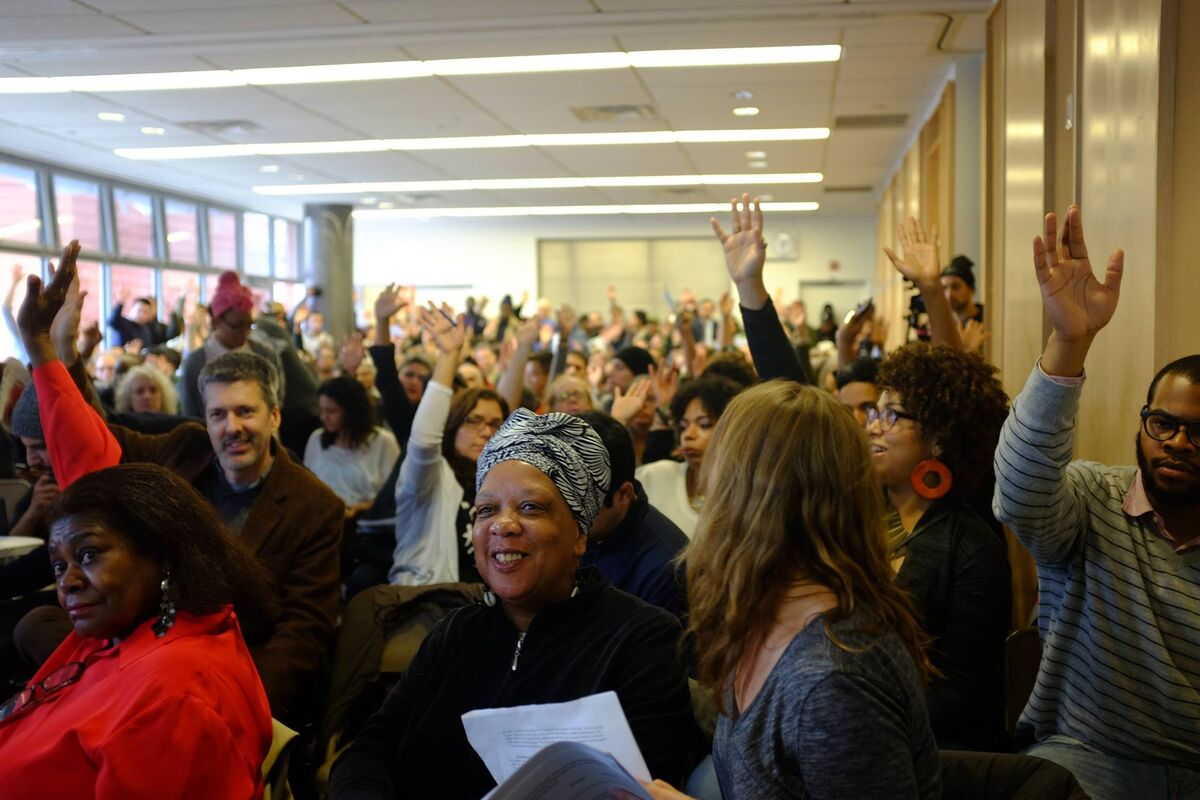 Community members at the 3rd Annual Bronx Gentrification Conference hosted by CASA (Community Action for Safe Apartments), the Bronx Documentary Center, and City Limits magazine, 2016. Photo by Fanta Diop/Bronx Documentary Center. Courtesy of the Bronx Documentary Center.
