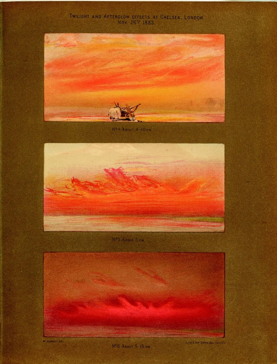 William Ascroft's watercolors of sunsets in Chelsea, London, 1883. Courtesy Bodleian Libraries, University of Oxford.