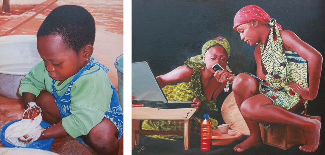Left: Jeremiah Quarshie, Jessica, 2010. Right: Jeremiah Quarshie, Village Tech, 2011. Images courtesy of the artist and Gallery 1957, Accra.