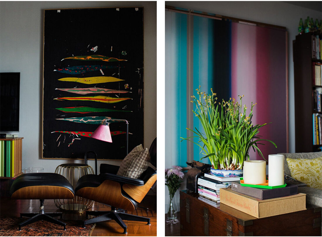 Left: painting by Harold Ancart; right: Liu Wei, Beyond the Sky Limits, 2012. Photos by Amanda Kho for Artsy.