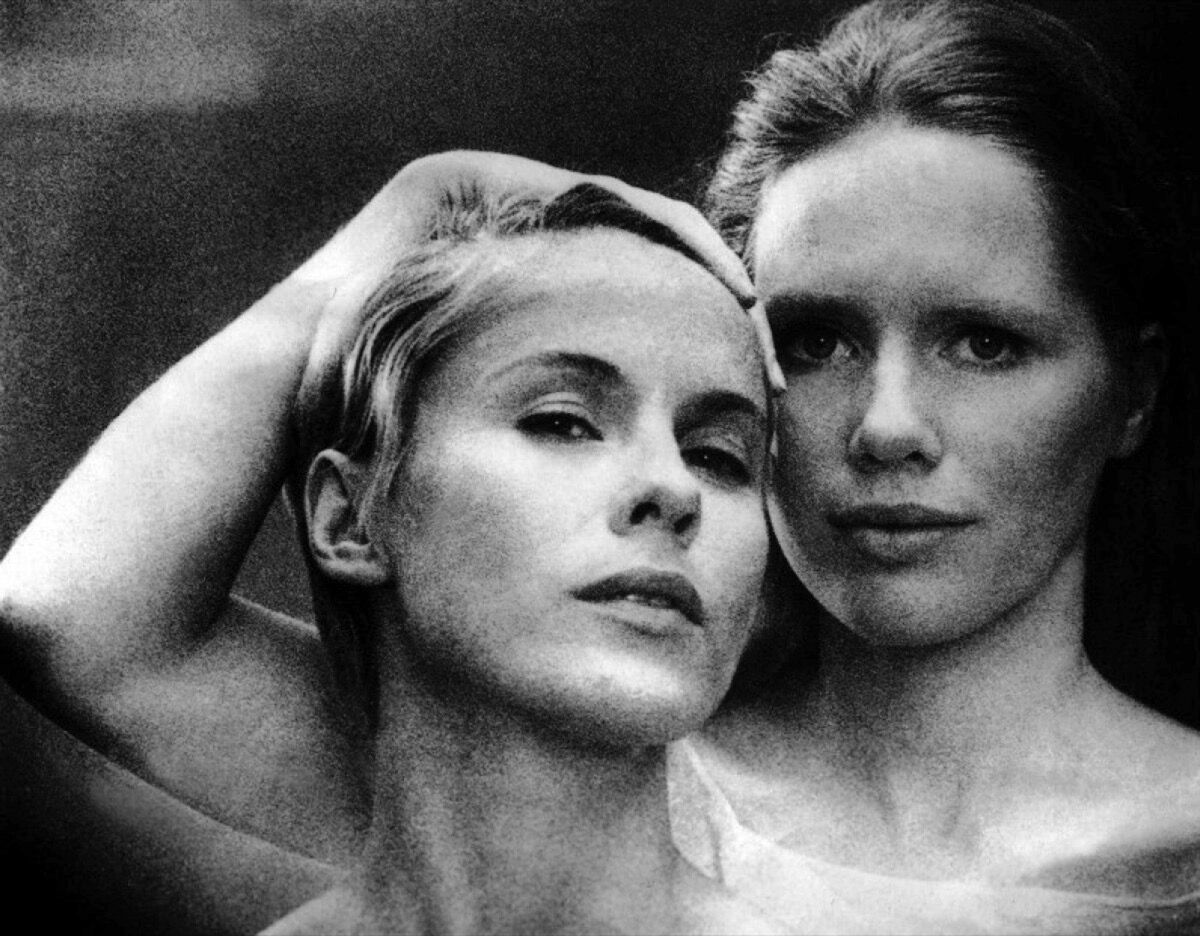 Swedish actress Bibi Andersson and Norwegian actress Liv Ullmann on the set of Persona, written and directed by Ingmar Bergman. Photo by Sunset Boulevard/Corbis via Getty Images.