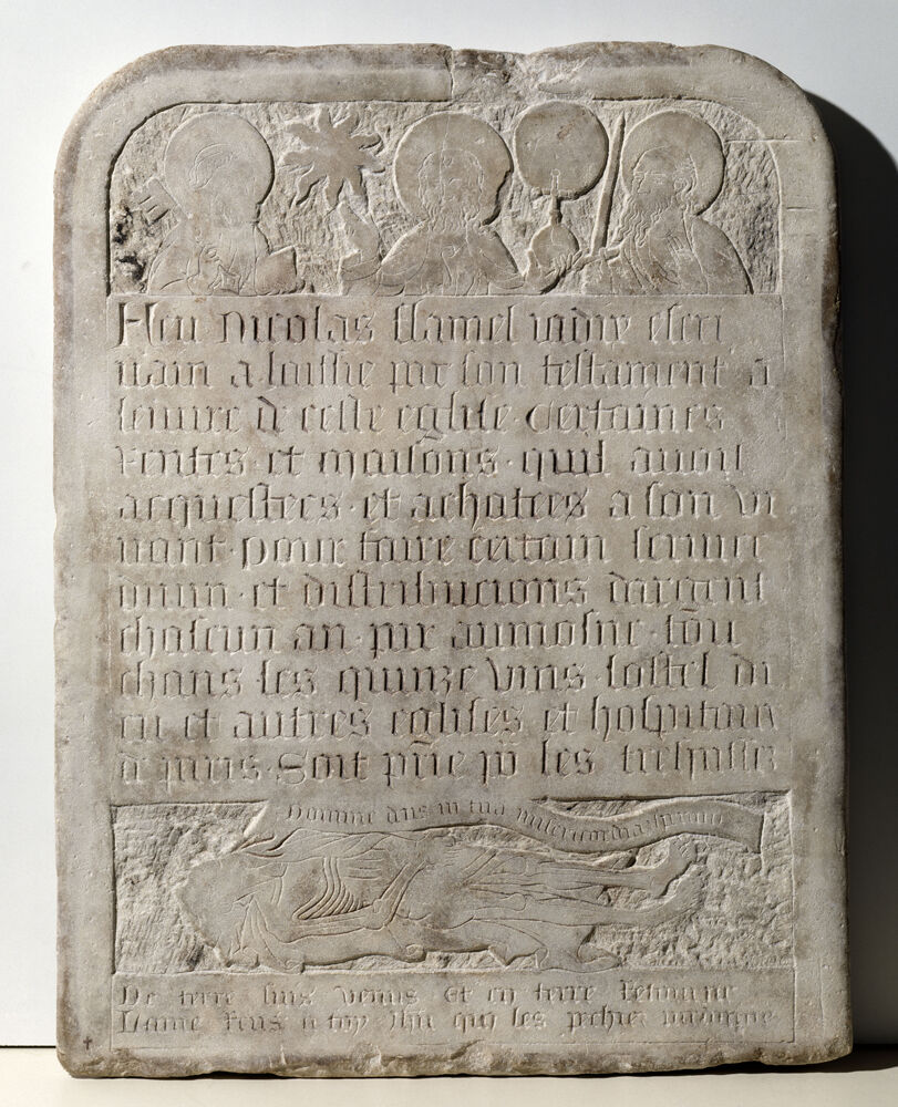 Tombstone of Nicolas Flamel Paris, 15th century. © Paris, Musée de Cluny - Musée national du Moyen Âge.