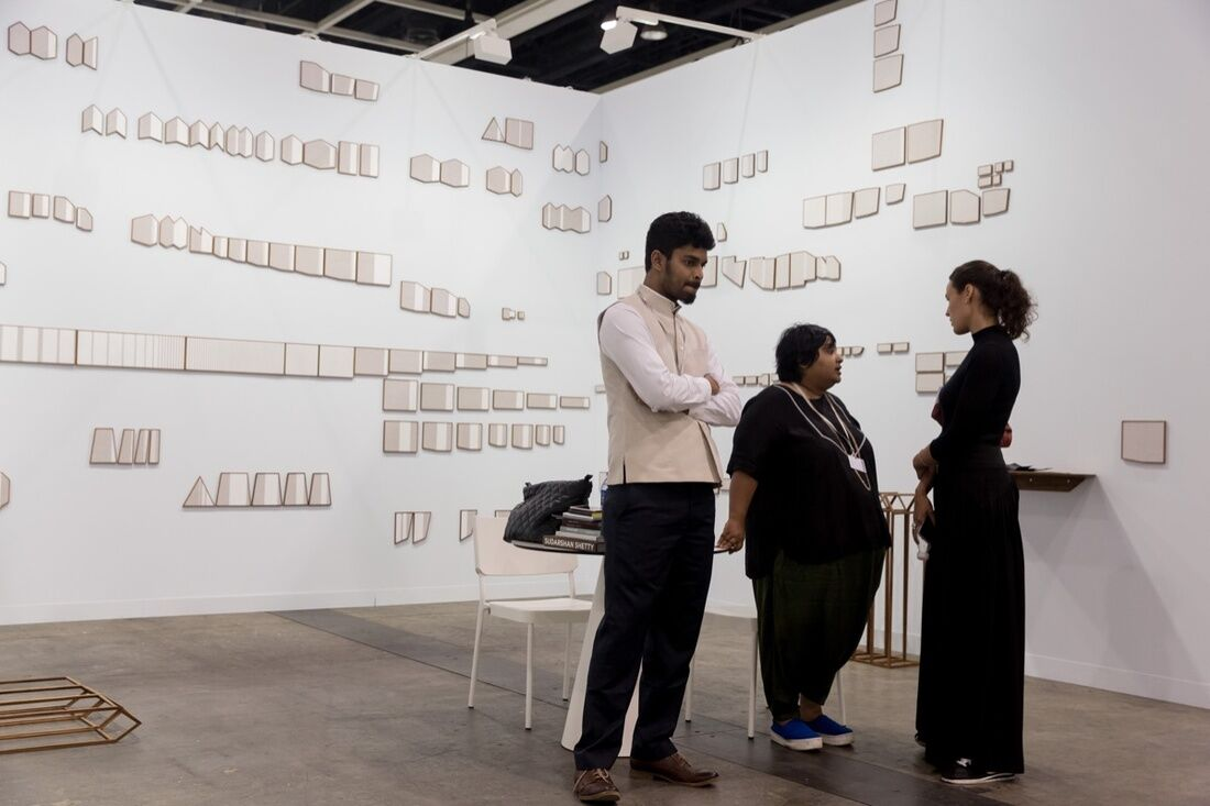 Installation view of Astha Butail's work on view at GALLERYSKE's booth at Art Basel in Hong Kong, 2017. Courtesy of Art Basel.