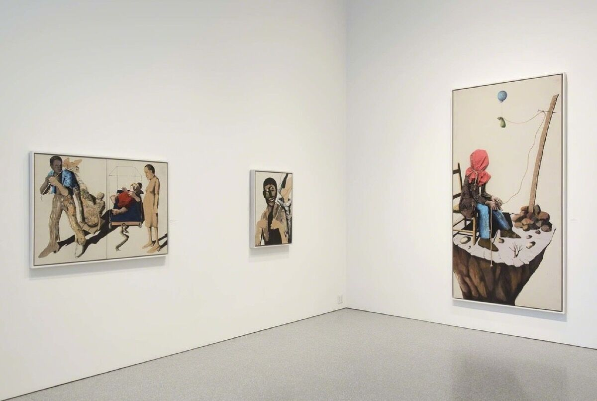 "Installation view of ""Benny Andrews: The Bicentennial Series,"" courtesy of Michael Rosenfeld Gallery."