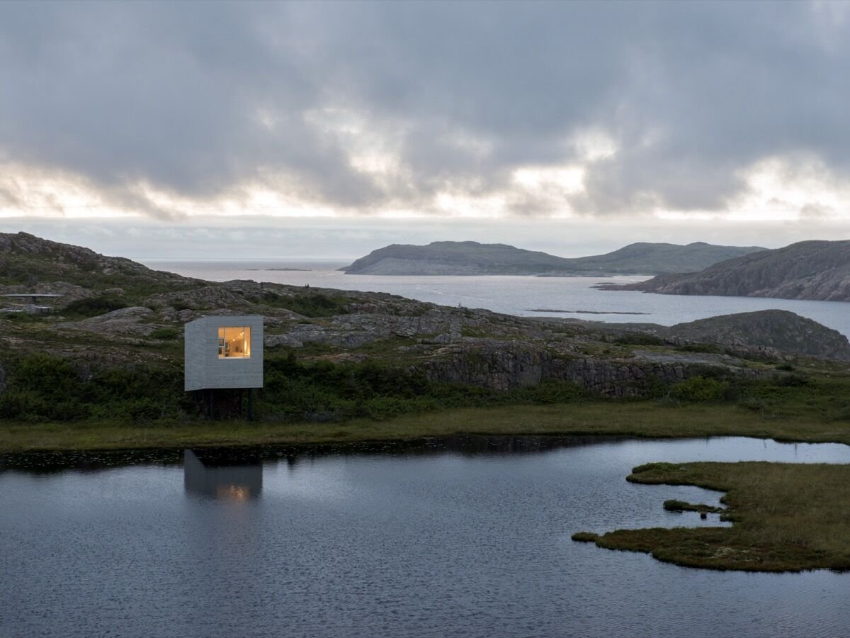 Fogo Island Arts' Bridge Studio in Deep Bay, Fogo Island, Newfoundland,Canada, 2014. Photo by Alex Fradkin. Courtesy of Fogo Island Arts.