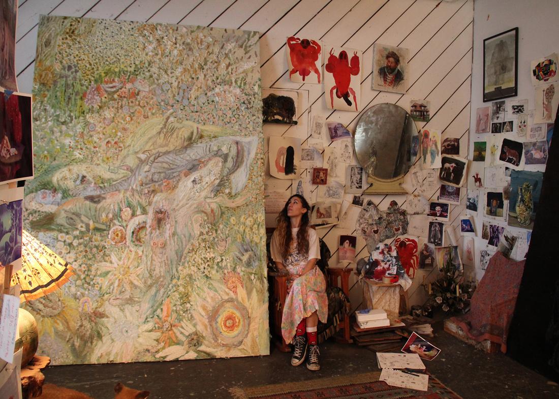 Allison Schulnik in her Los Angeles studio. Courtesy of Mark Moore Gallery and Allison Schulnik.
