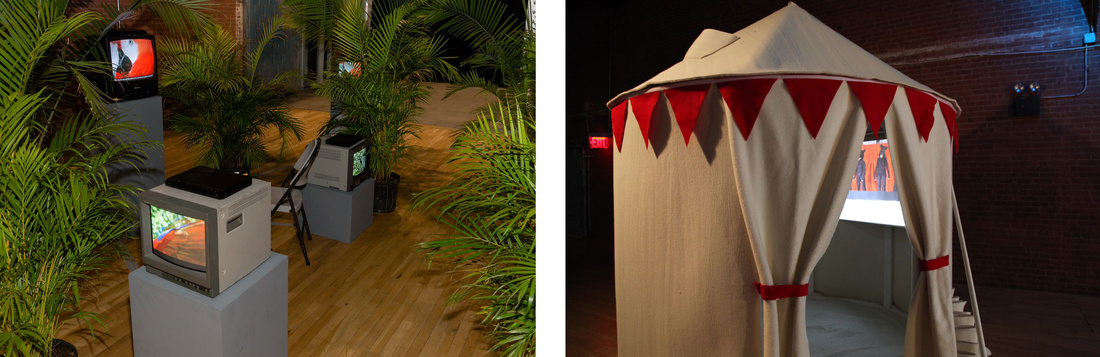 Left: Sergio Vega, Cenesis According to Parrots (2004). Photo by Etienne Frossard. Courtesy of Moving Image and IRL Institute; Right: Amalie Atkins, Three Minute Miracle (2008). Courtesy of dc3 Art Projects.