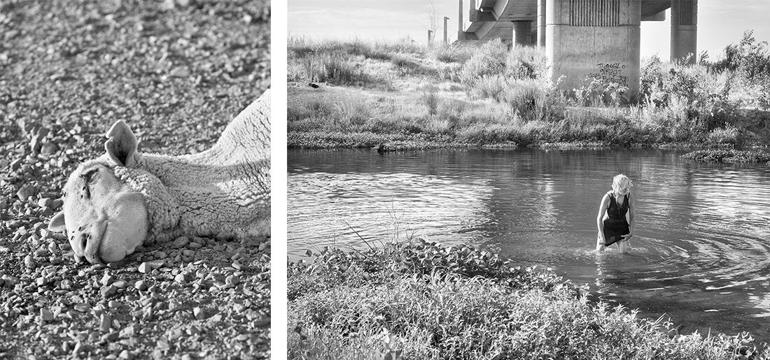 Left: Katy Grannan, Sacrificial Lamb left on Highway 165, outside Turlock, CA, 2011, 2015. Right: Katy Grannan, Deb Soaking Wet, Tuolumne River, Modesto, CA, 2013, 2013. Courtesy Salon 94, New York, and the artist.