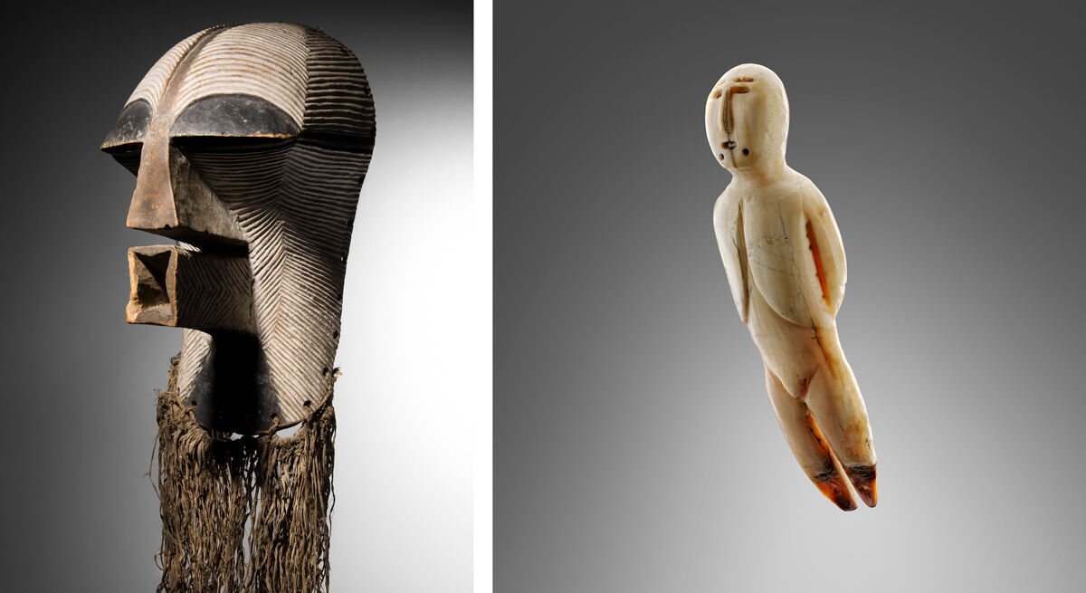 Left: Songye Mask, Democratic Republic of the Congo; Right: Inuit Flying Shaman, Saint Michaels, Stebbins area, Alaska. Images courtesy of BRAFA.