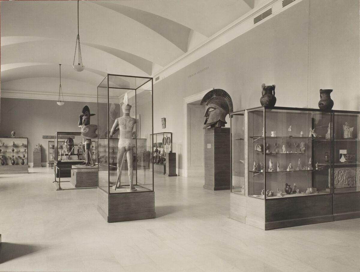 View of the Etruscan terracotta figures in the Greek and Roman galleries at The Metropolitan Museum of Art, 1933. Courtesy of The Metropolitan Museum of Art.